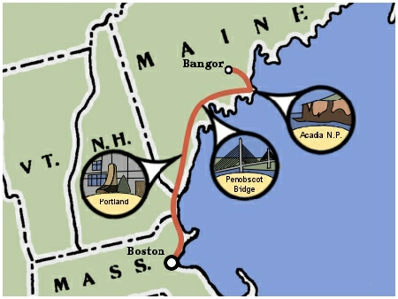 Teen Treks Maine Coast bicycles begins in Boston and bicycles to Bar Harbor